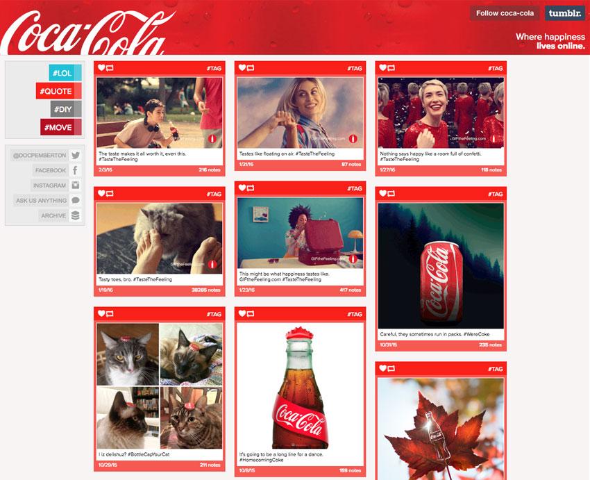 Perfil de Coca-Cola en Tumblr