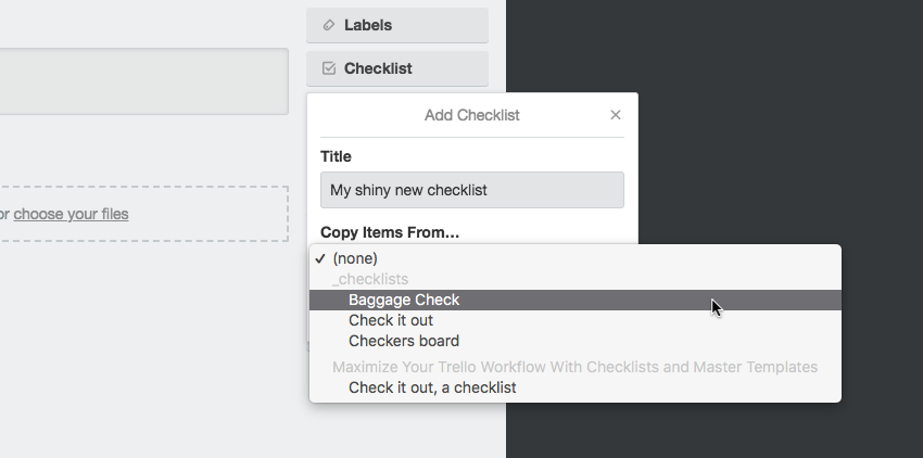 Trello checklist card