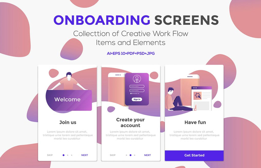 15 Onboarding Screens for App on Envato Elements