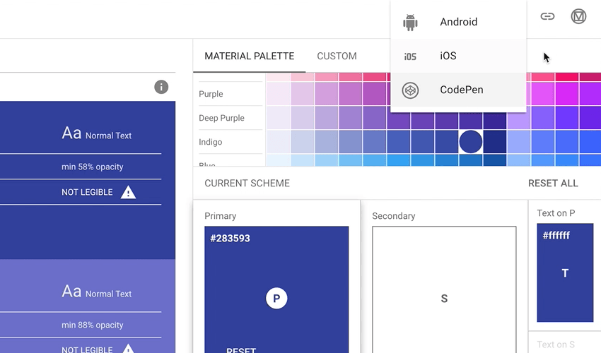 Material Design Color Tool export options
