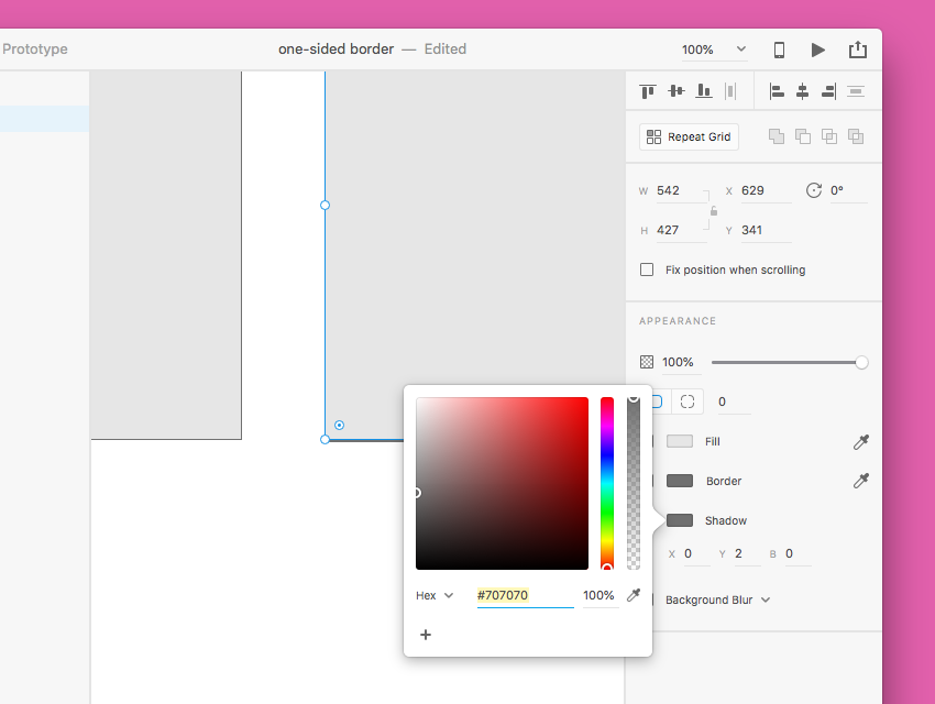 one-sided borders in Adobe XD
