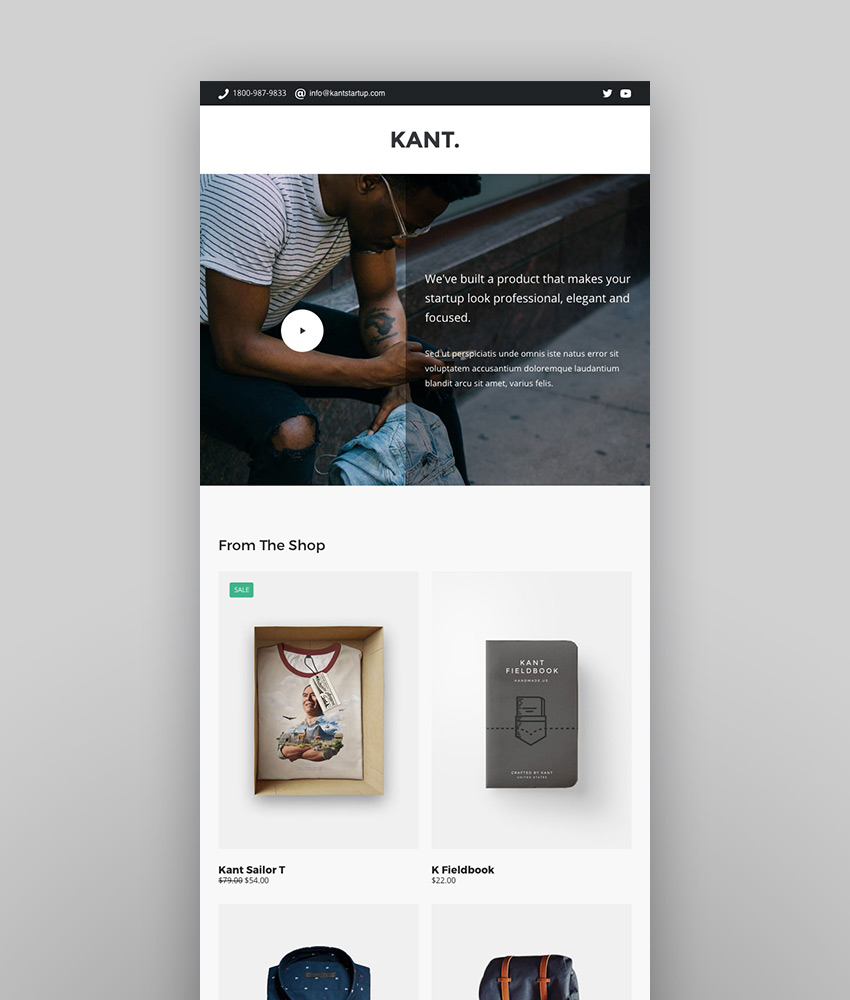 Kant - Responsive Email for Startups 50 Sections Online Builder MailChimp Mailster Shopify