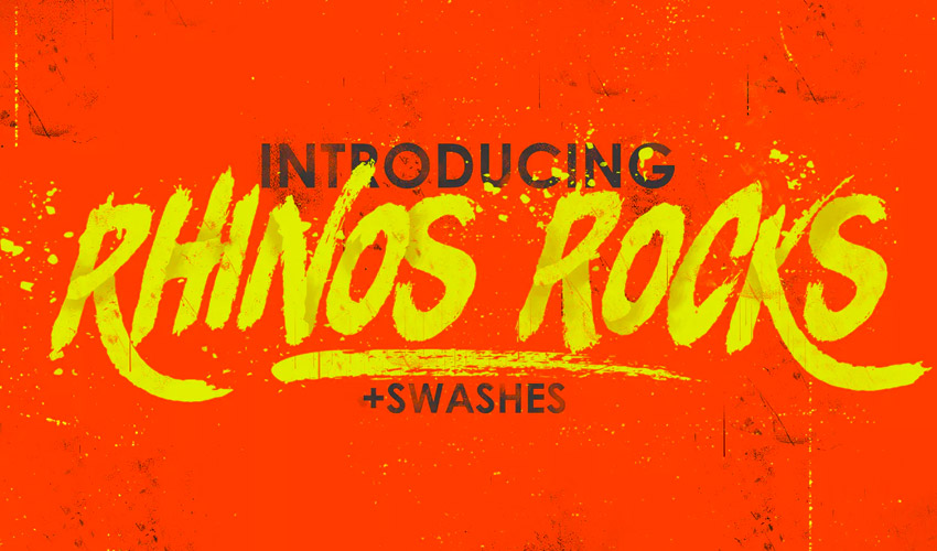 Rhinos Rocks Brush Font