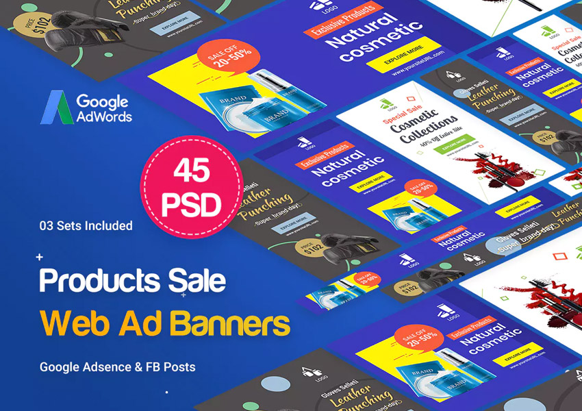 Product Banners Ad - 45 PSD 03 Sets