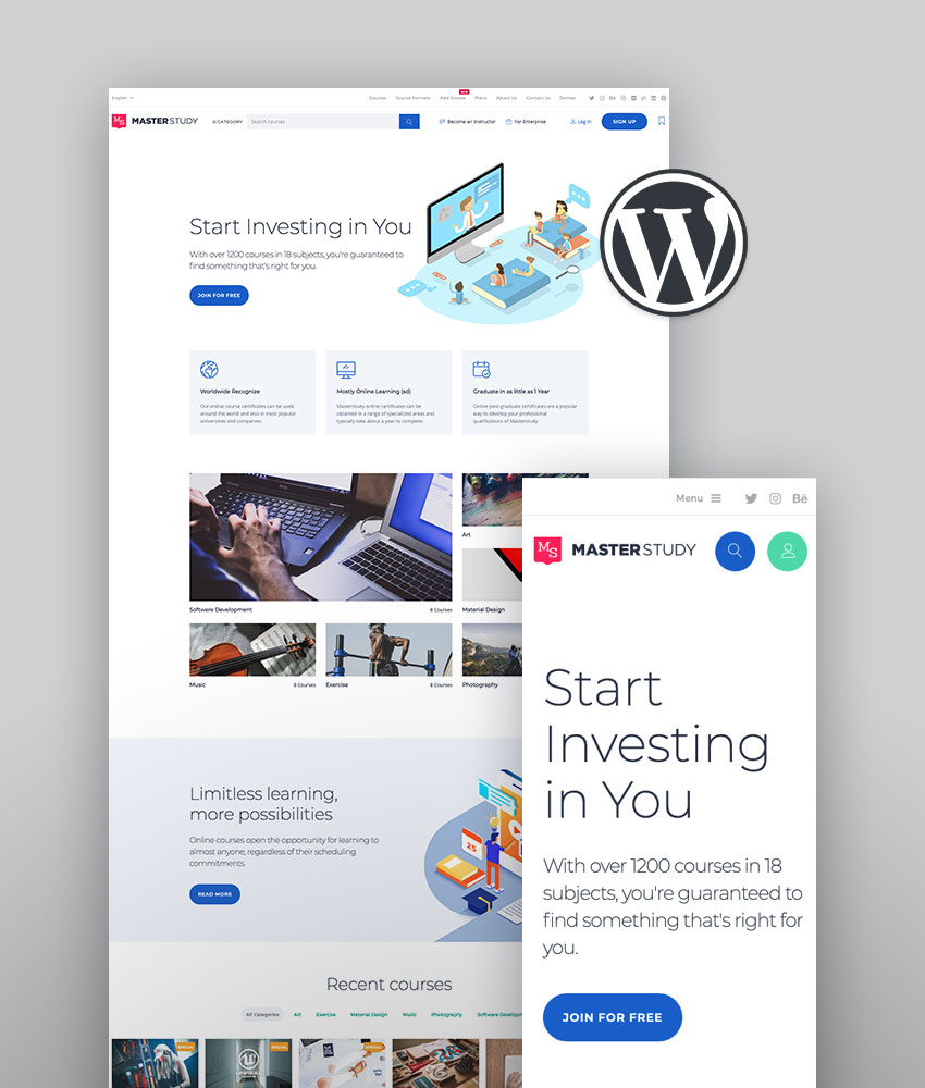 Tema WordPress para la formación – Masterstudy