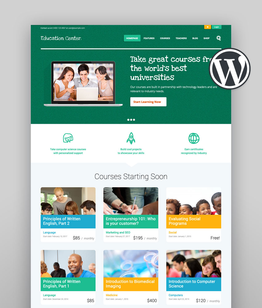 Education Center  LMS Online University  School Courses Studying WordPress Theme