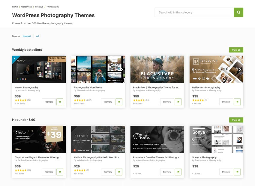 The creative Photography WordPress theme category on Themeforest
