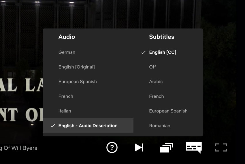 Audio Description options on Netflix