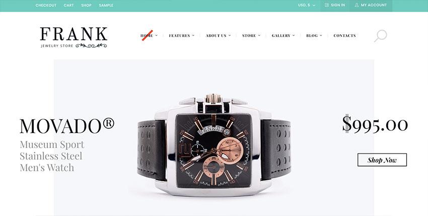 Jewelry  Watches Online Store WordPress Theme