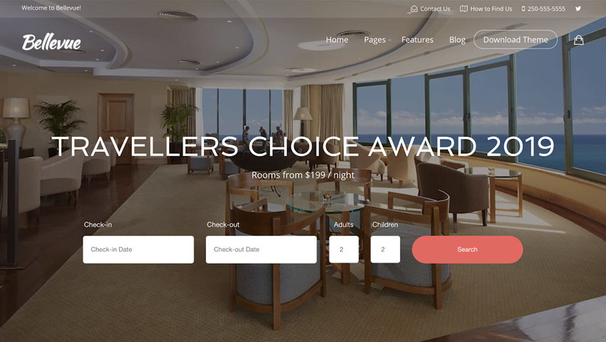 Bellevue, tema WordPress con calendario de reservas para hotel Bed and Breakfast