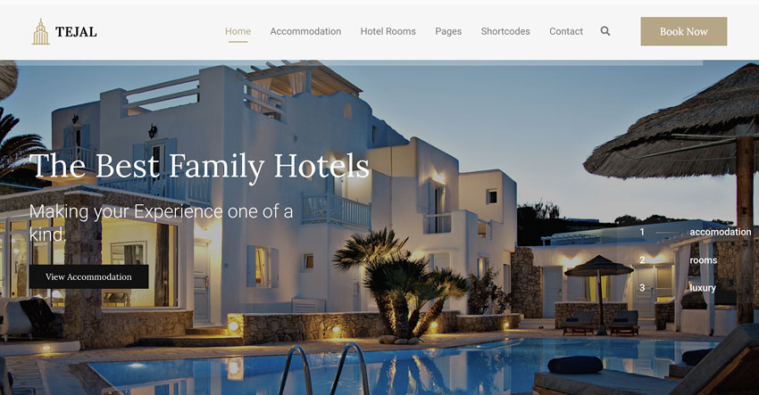 Tejal - WordPress Hotel Booking Theme