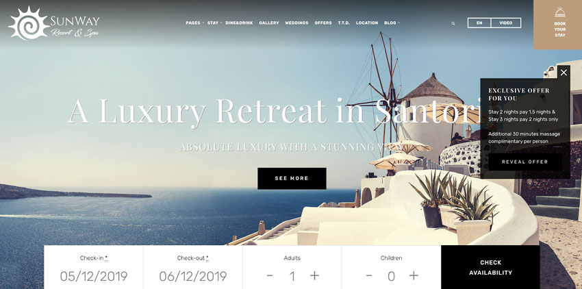 Sunway - Hotel Booking WordPress Theme