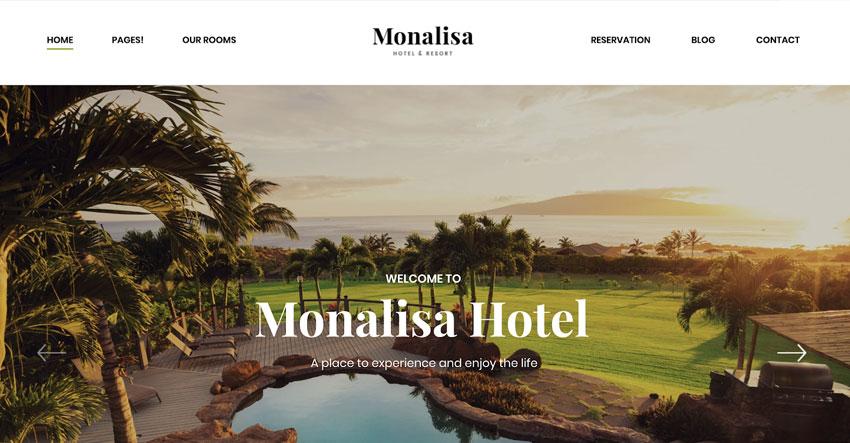 Monalisa tema WordPress para reservas de hotel & resort