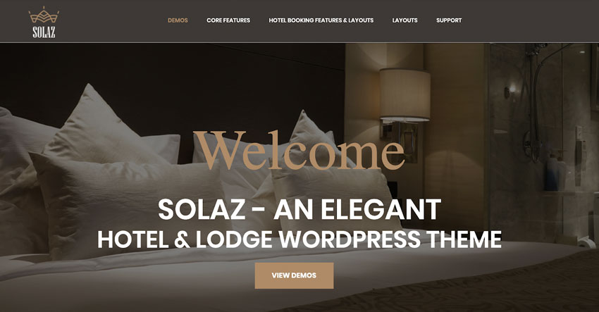 Solaz - An Elegant Hotel Lodge WordPress Theme