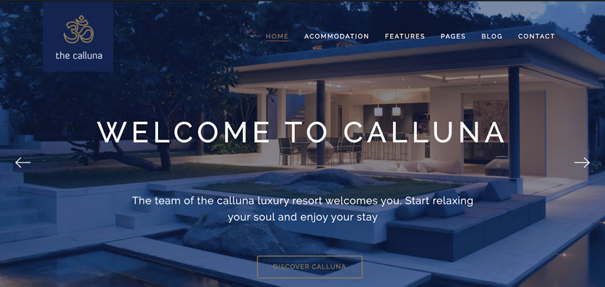 Calluna - tema WordPress para hotel, resort o spa