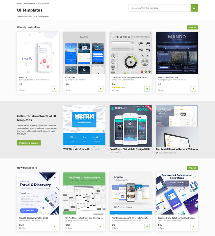 Choose from over 1800 UI templates