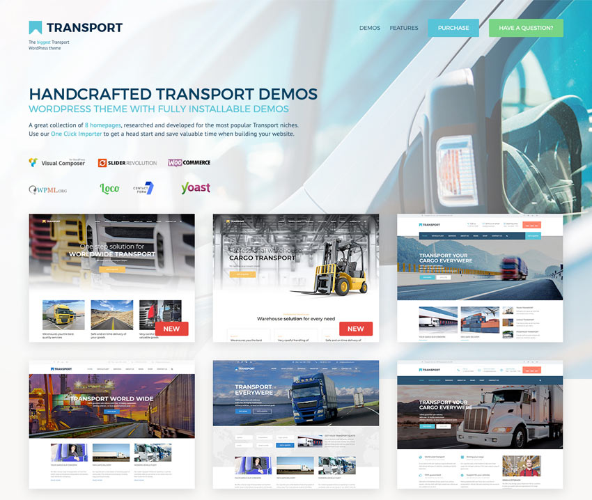 the Transport wordpress themes offers many variants and options