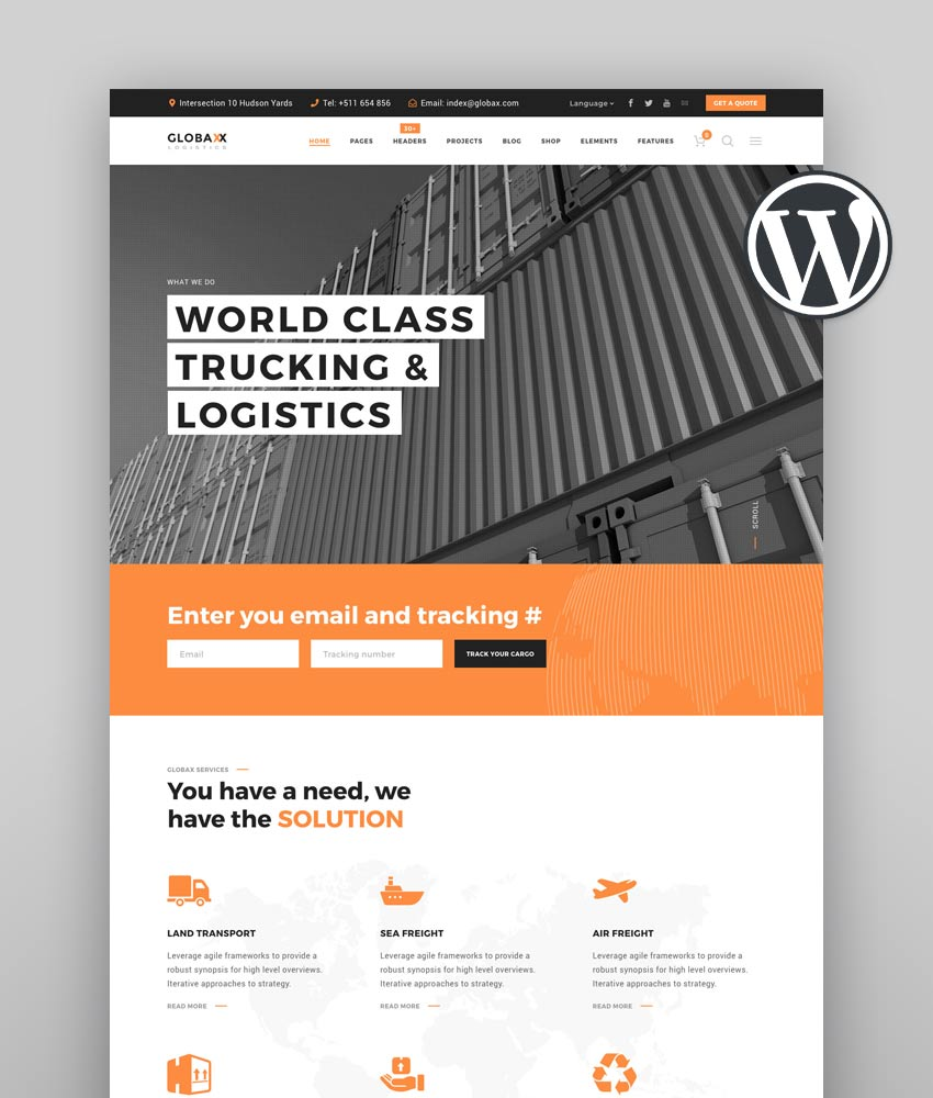 Globax - Logistics WordPress Theme  WooCommerce