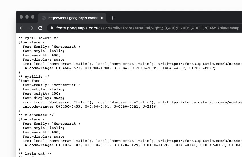 google font stylesheet opened in chrome