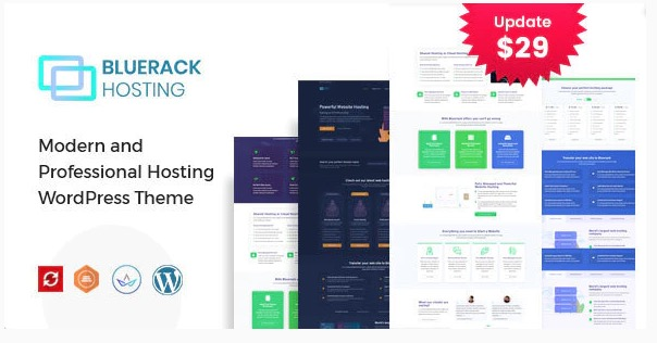 Bluerack - Modern Hosting WordPress Theme with WHMCS