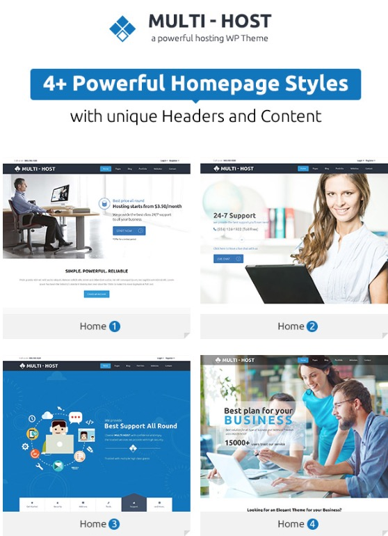 Multi Host  WHMCS Hosting WordPress Theme