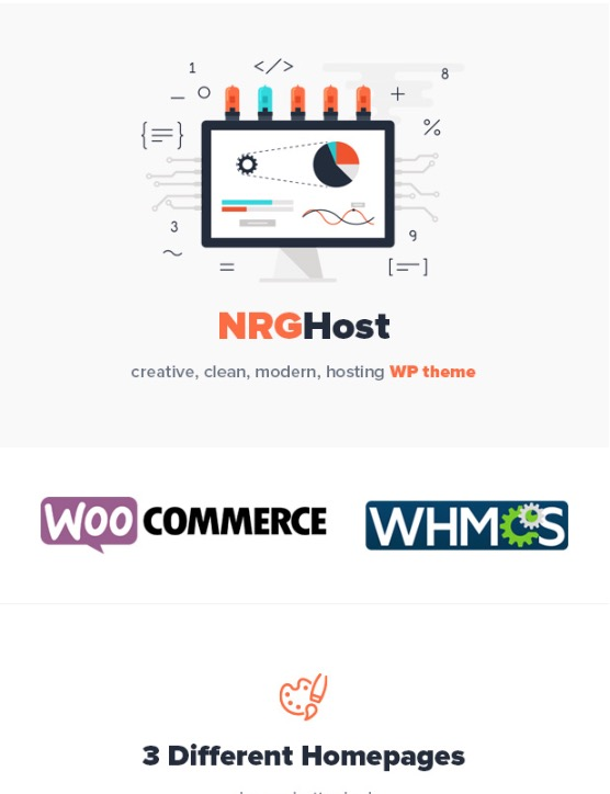 NRGHost - Flat Web Hosting WordPress Theme  WHMCS