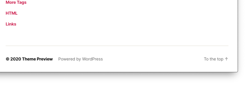 twenty twenty wordpress theme footer