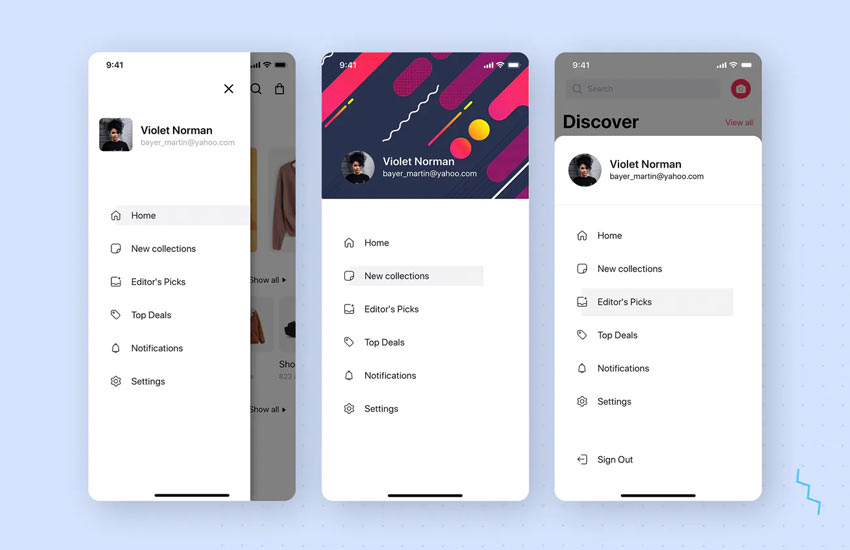 Menu - Navigation UI Mobile Template