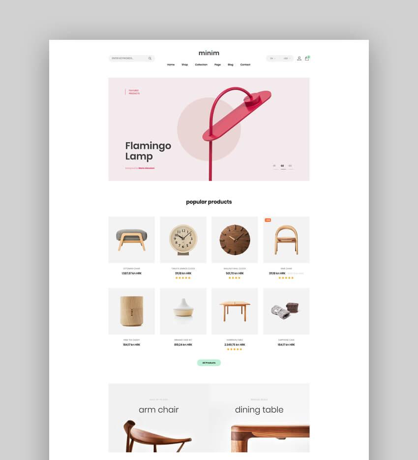 Minim  Minimal  Clean Furniture Store Shopify AR  Theme
