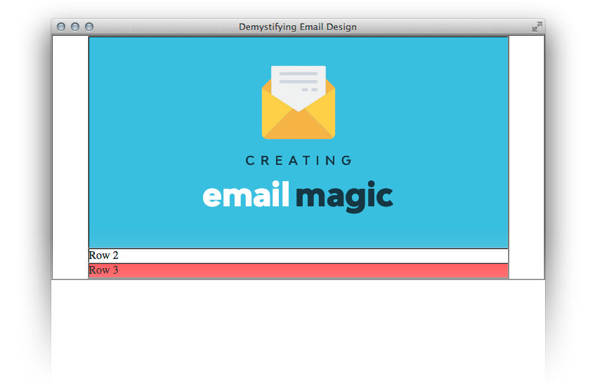 The html email header along with image