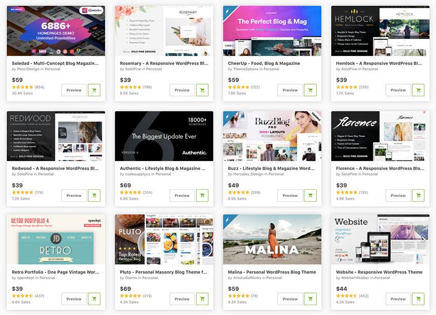 WordPress themes on Themeforest.