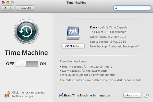 Setting up Time Machine to perform a backup