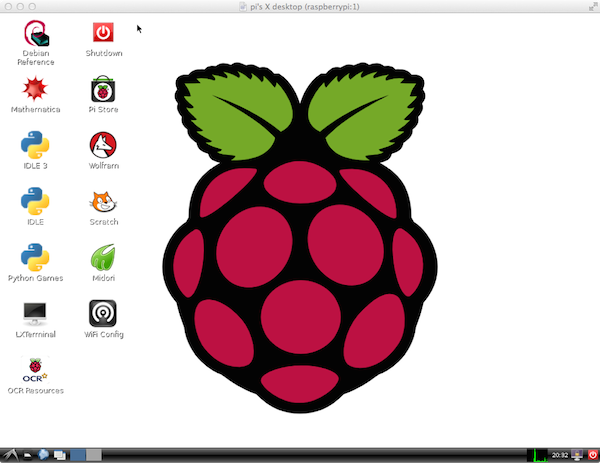 Raspberry Pi desktop at 1024x768 pixels