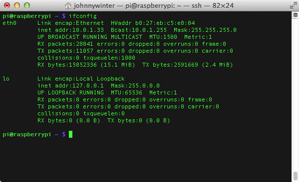 Using ifconfig on the Raspberry Pi to determine the device IP address