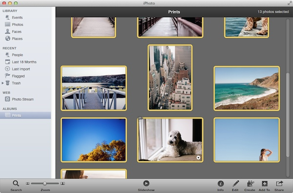 Selecting all of the photos in the Album