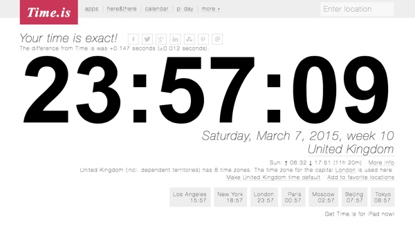 TimeIs is a great site for working out timezones and time differences