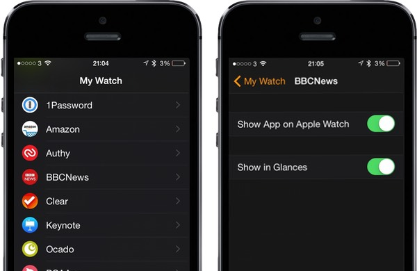 Glances are configured from the Apple Watch app on iPhone