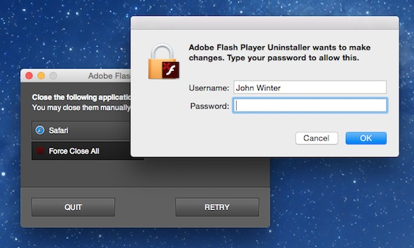 Running the Adobe Flash uninstaller on a Mac