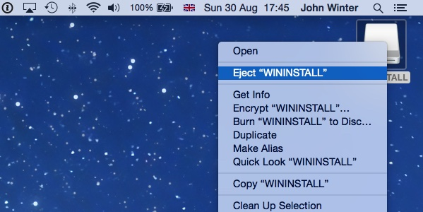 Secondary-click on the WININSTALL icon on the desktop and select Eject WININSTALL