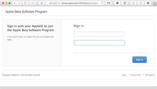 Use your Apple ID to sign into the Beta Software Program