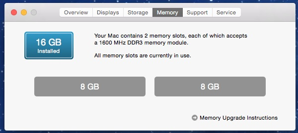 Checking the amount of installed memory on a Mac
