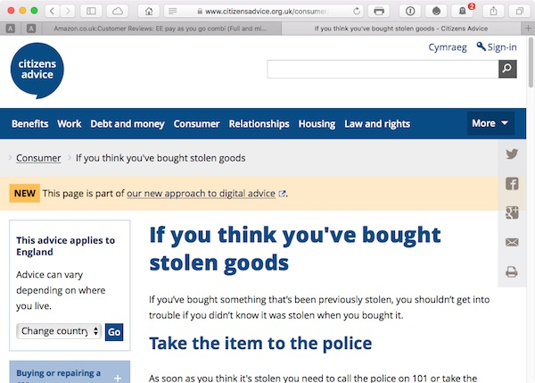 Citizens Advice Bureau online