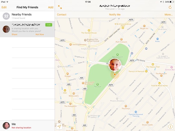 Find my Friends is built in to iOS9 and can be used to locate your child