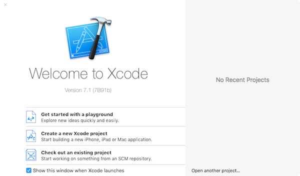 Launch the Xcode app