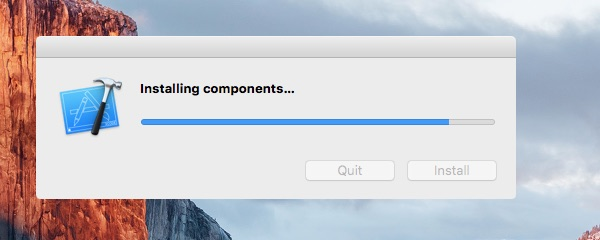 Wait a few moments whilst Xcode is installed