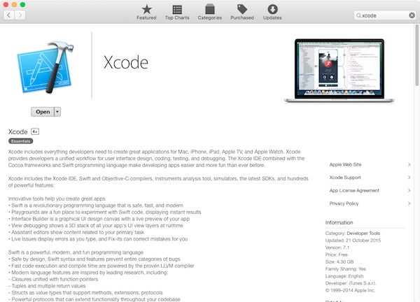 Xcode is availabe for free download in the Mac App Store