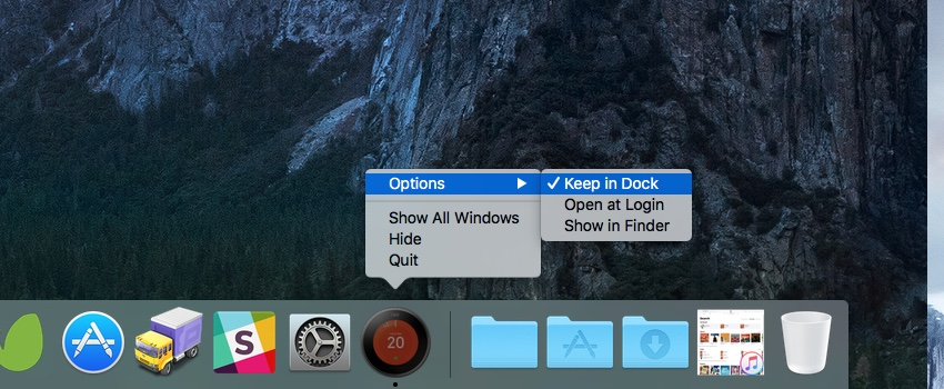 You may wish to keep the Nest app icon in the dock for ease of access