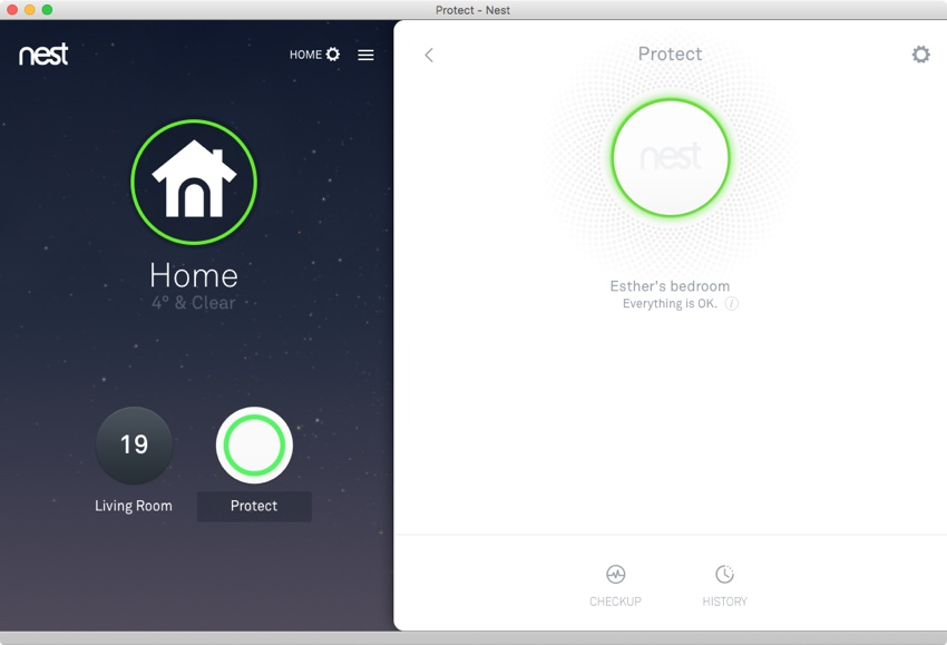 The Nest Thermostat Protect smoke detector interface in the Nest app