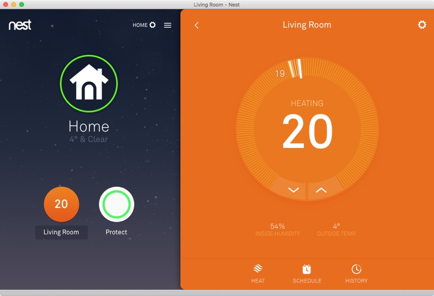 The Nest Thermostat interface in the Nest app