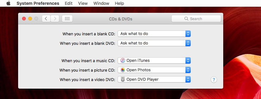Changing the Action on Inserting a CD or DVD